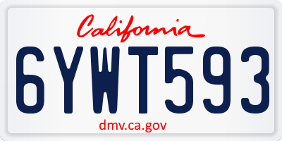 CA license plate 6YWT593