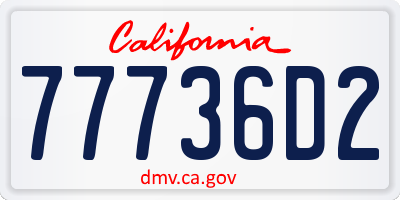 CA license plate 77736D2