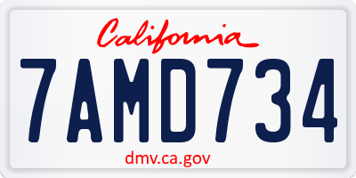 CA license plate 7AMD734