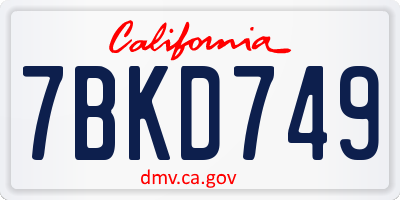 CA license plate 7BKD749