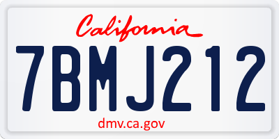 CA license plate 7BMJ212
