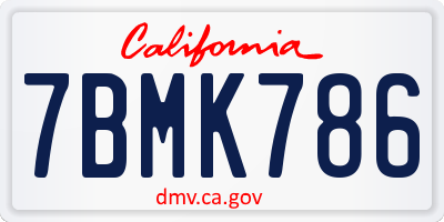 CA license plate 7BMK786