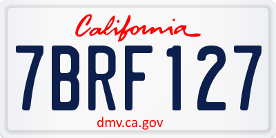 CA license plate 7BRF127