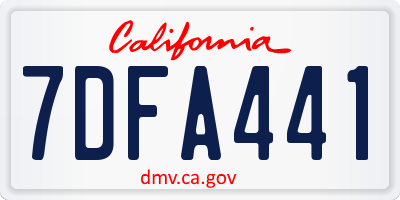 CA license plate 7DFA441