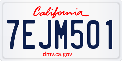 CA license plate 7EJM501