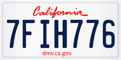 CA license plate 7FIH776