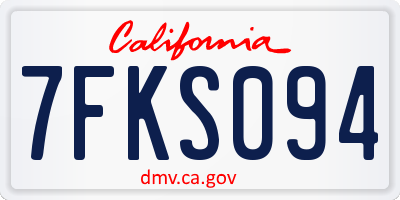 CA license plate 7FKS094