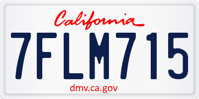 CA license plate 7FLM715