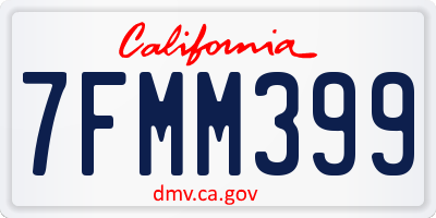 CA license plate 7FMM399