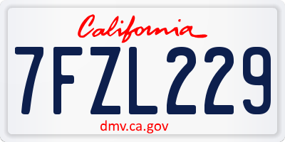 CA license plate 7FZL229