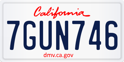 CA license plate 7GUN746