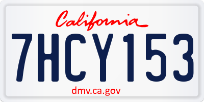 CA license plate 7HCY153