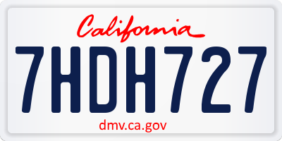 CA license plate 7HDH727