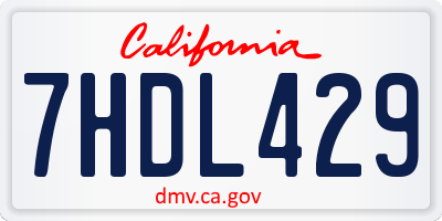 CA license plate 7HDL429