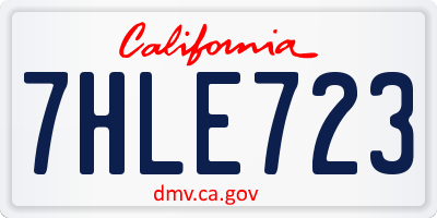 CA license plate 7HLE723