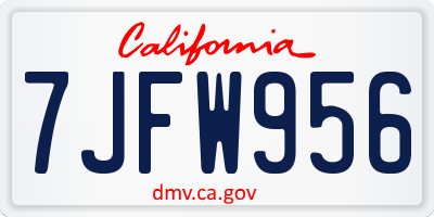 CA license plate 7JFW956