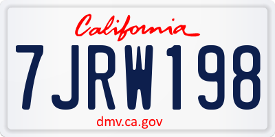 CA license plate 7JRW198
