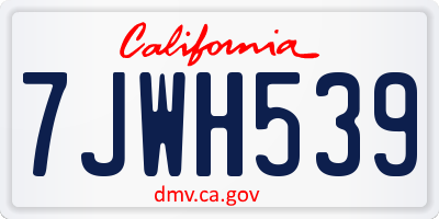 CA license plate 7JWH539