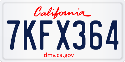 CA license plate 7KFX364