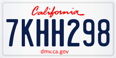 CA license plate 7KHH298