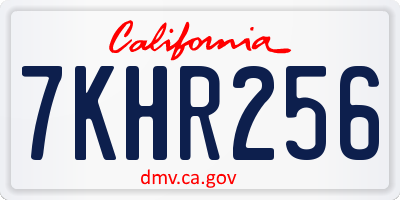 CA license plate 7KHR256