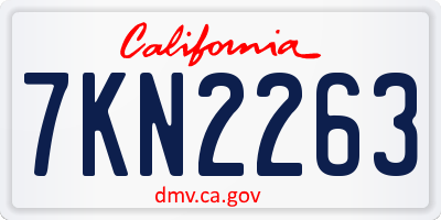 CA license plate 7KN2263