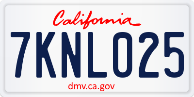 CA license plate 7KNL025