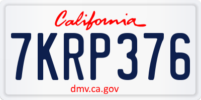 CA license plate 7KRP376
