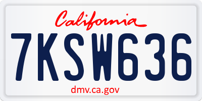 CA license plate 7KSW636