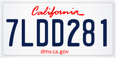 CA license plate 7LDD281