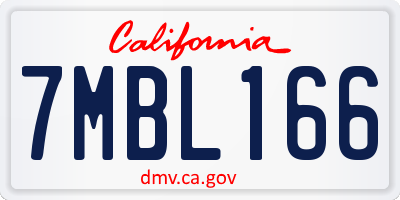 CA license plate 7MBL166
