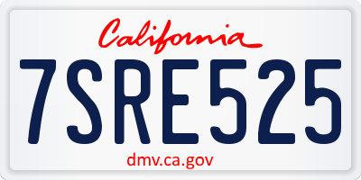 CA license plate 7SRE525