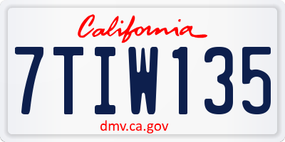 CA license plate 7TIW135