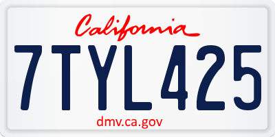CA license plate 7TYL425