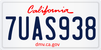 CA license plate 7UAS938