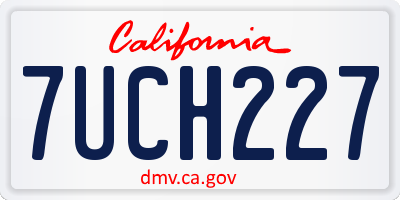 CA license plate 7UCH227