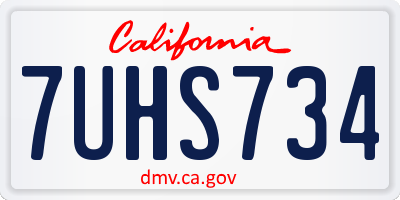 CA license plate 7UHS734