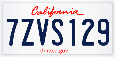 CA license plate 7ZVS129