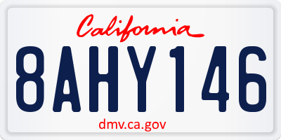 CA license plate 8AHY146