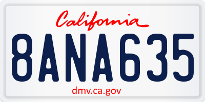CA license plate 8ANA635
