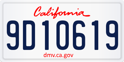 CA license plate 9D10619