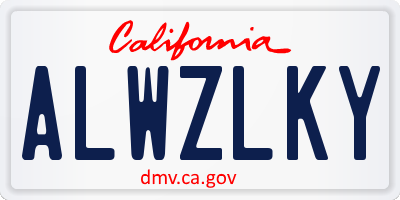 CA license plate ALWZLKY