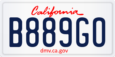 CA license plate B889GO
