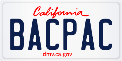CA license plate BACPAC