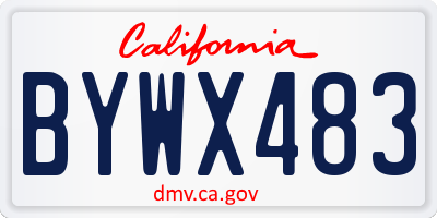 CA license plate BYWX483