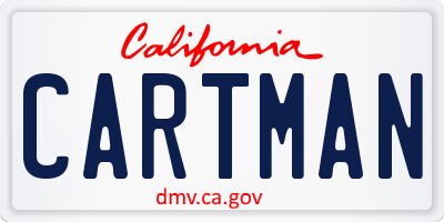 CA license plate CARTMAN