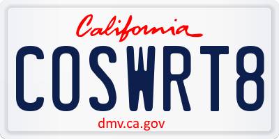CA license plate COSWRT8