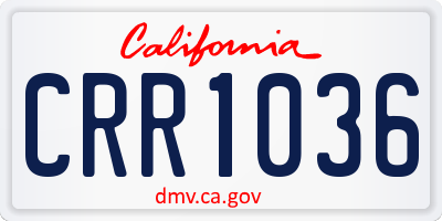 CA license plate CRR1036