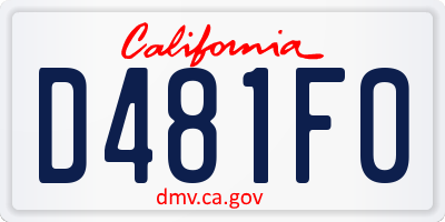 CA license plate D481F0