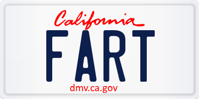 CA license plate FART